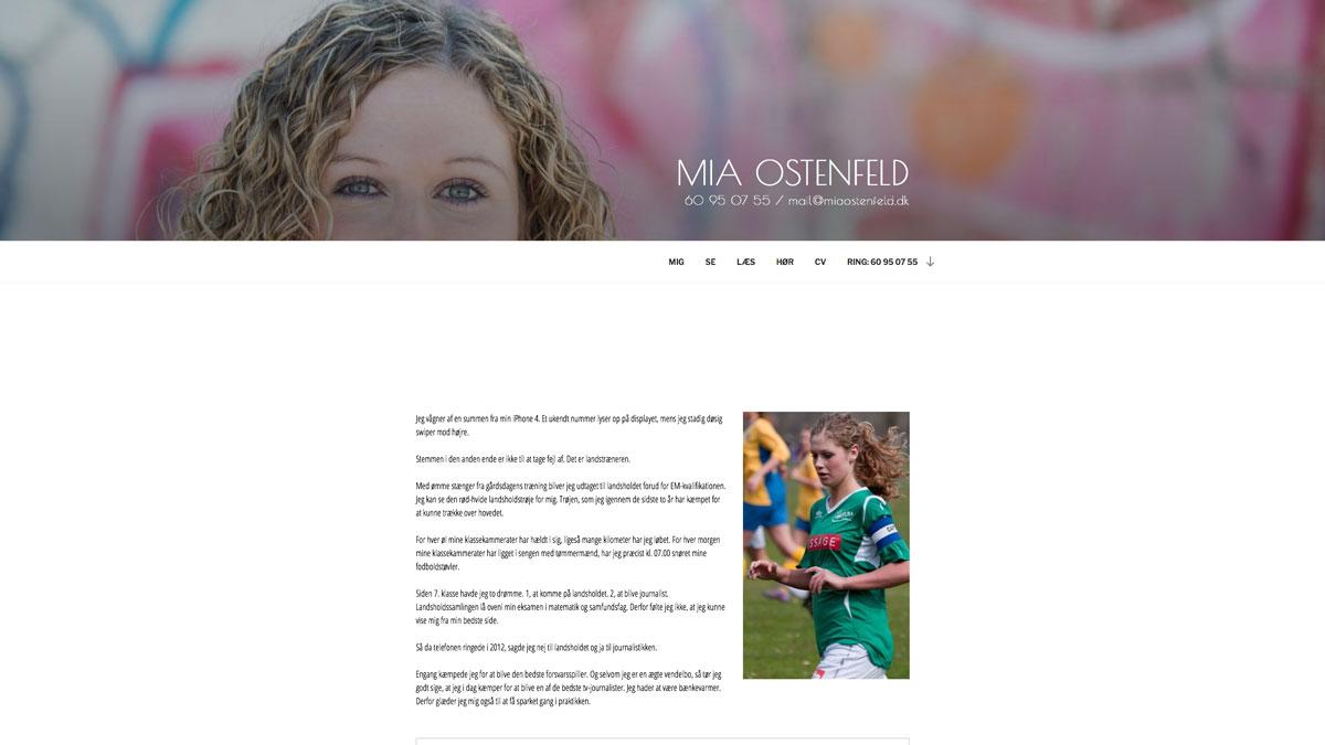 Mia Ostenfeld hjemmeside - Stine Bo